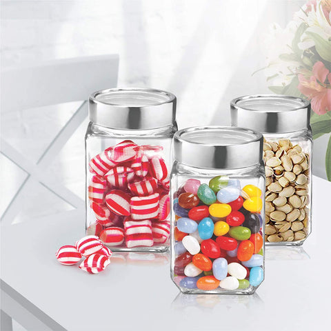 Treo By Milton Cube Storage Glass Jar, Set of 3 , 1000 ml - My Dream Kitchens