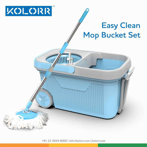 Kolorr 360 Microfiber Easy Clean Mop Bucket Set with 1 Year Warranty And With 1 Extra Mop Refill Free - My Dream Kitchens