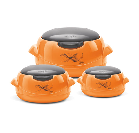 Milton Microwow One Touch Jr Inner Steel Insulated Casserole Gift Set of 3 Microwave Compatible - My Dream Kitchens