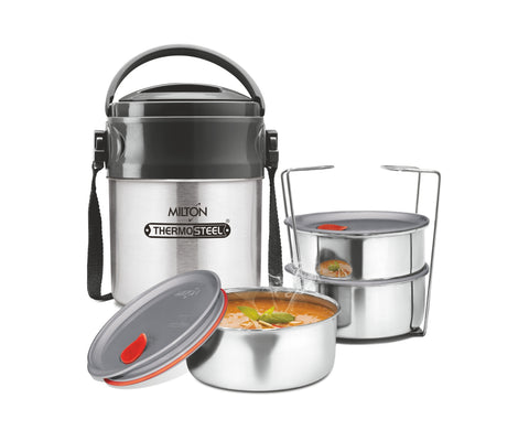 Milton Steel On Deluxe 3 Thermosteel Tiffin / Lunch Box, 3 Containers, 320 ml - My Dream Kitchens