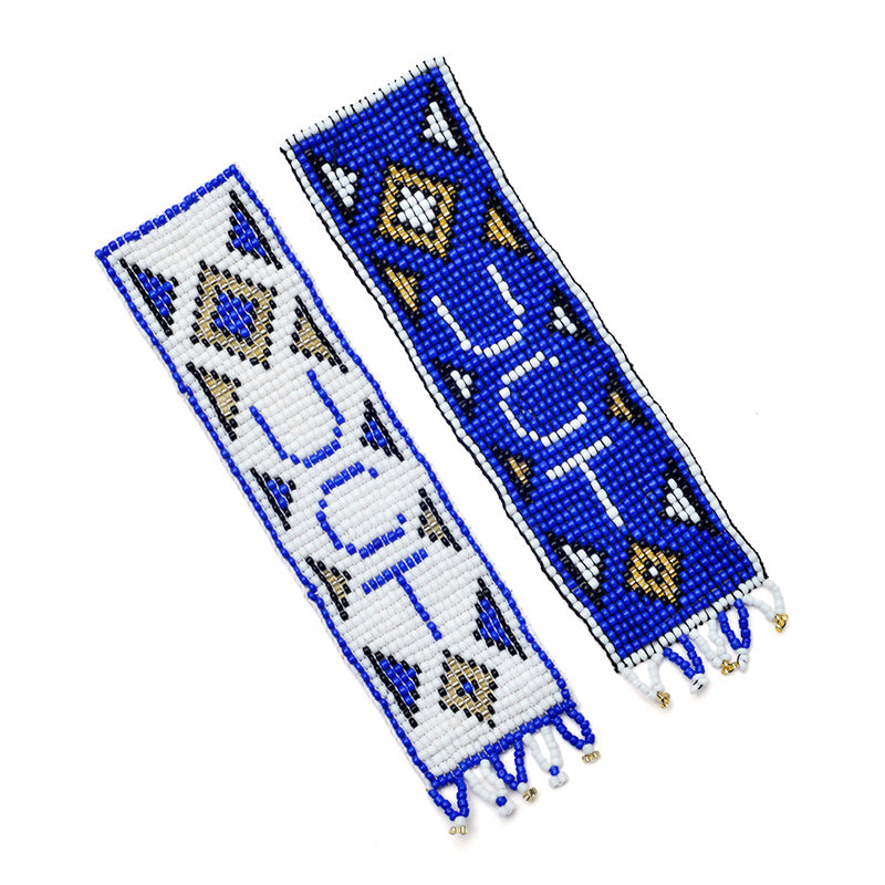 Kidz Positive Beading Project Beaded Bookmarks for the University of Cape Town Blue White Gold Black