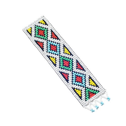 Kidz Positive Beading Project Beaded Bookmark with Ethnic Design Broad White Red Green Blue Yellow
