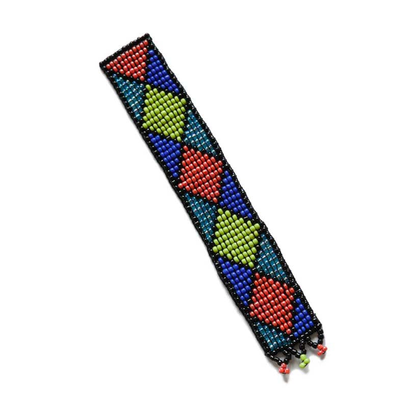 Kidz Positive Beading Project Beaded Bookmark with Ethnic Design Green Orange Blue