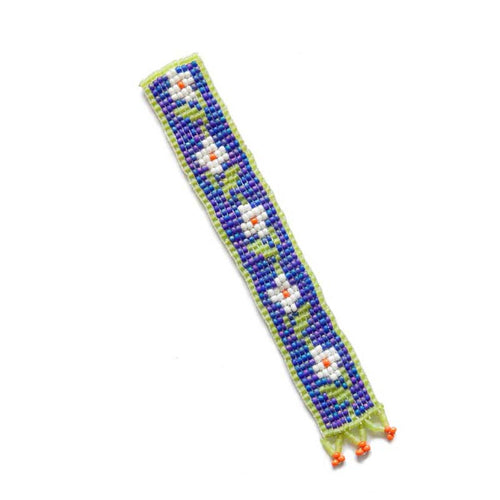 Kidz Positive Beading Project Beaded Bookmark with Floral Design Green Blue White Orange