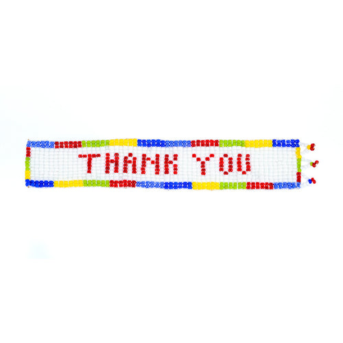 Kidz Positive Beading Project Beaded Bookmark with Thank You Note Blue Yellow Green Red White