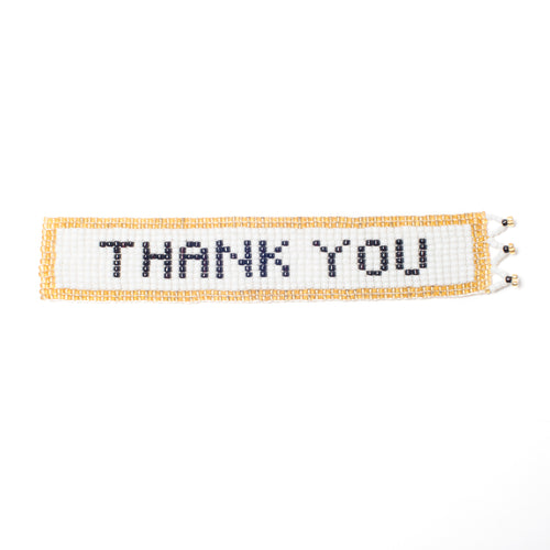 Kidz Positive Beading Project Beaded Bookmark with Thank You Note Gold White Black