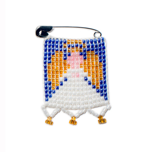 Kidz Positive Beading Project Beaded Christmas Angel Pin Blue Pink Gold White