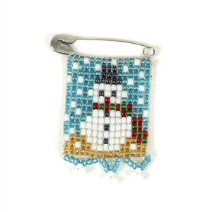 Kidz Positive Beading Project Beaded Christmas Snowman Pin White Red Green Gold Powder Blue