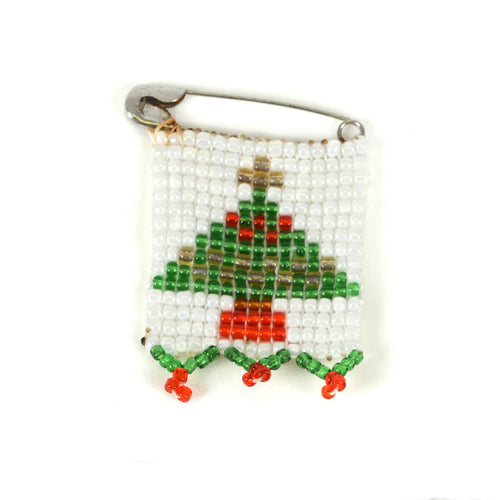 Kidz Positive Beading Project Beaded Christmas Tree Pin Green Gold White Red