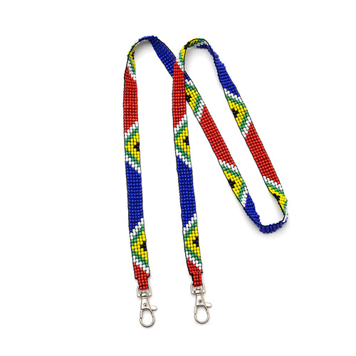 Kidz Positive Beading Project Beaded Lanyard Loomed Five Bead Wide SA Flag Colours