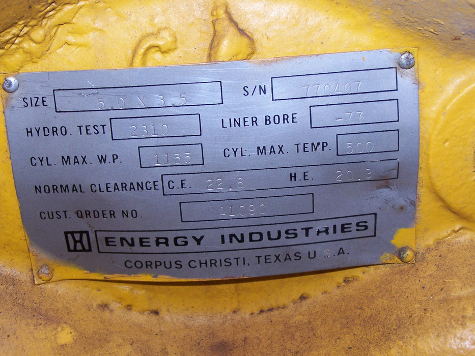 "ENERGY INDUSTRIES, COMPRESSOR CYLINDER FE 332 3.5"" BORE"
