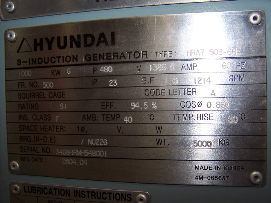 HYUNDAI, 1000KW, INDUCTION S/N 3468RM-1548001 1200RPM, 60HZ, 3PH, 480 VOLT