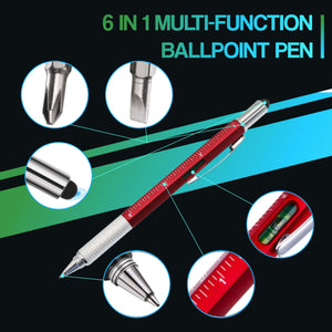 6 in 1 Multi-function Ballpoint Pen 88mallonline Blue Red