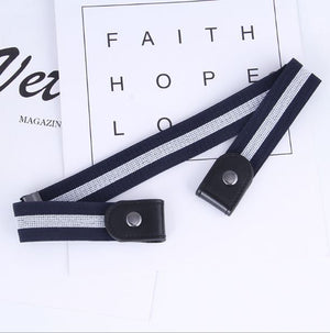 Buckle-Free Adjustable Belt 88mallonline Navy Blue Stripes
