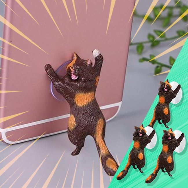 Cat Phone Holder - Set Of 3 Home trillionwish Brown Cat