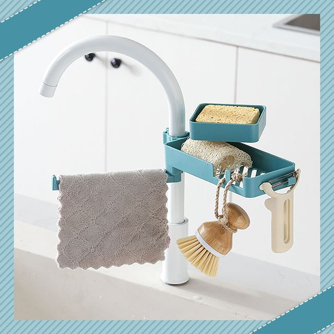 Double Layer Faucet Rack trillionwish Double Layer Blue