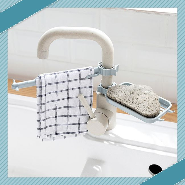 Double Layer Faucet Rack trillionwish Single Layer Gray