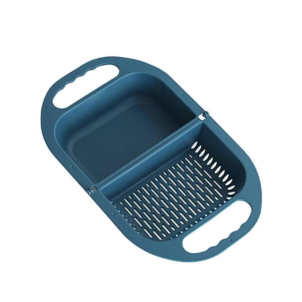 Multifunctional Folding Drain Basket trillionwish Dark Blue