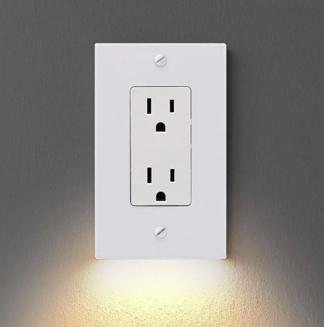 Outlet Wall Plate with Led Night Lights trillionwish TYPE B WHITE