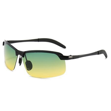 Photochromic Fishing Lens AmberAconite Yellow & Green Black Frame