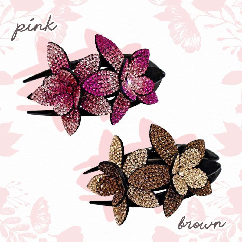 Rhinestone Flower Hair Clip trillionwish 2 PCS - PINK + BROWN