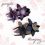Rhinestone Flower Hair Clip trillionwish 2 PCS - PURPLE + BLUE GRAY