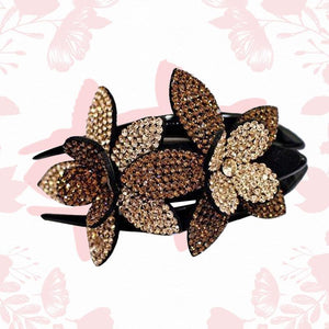 Rhinestone Flower Hair Clip trillionwish BROWN