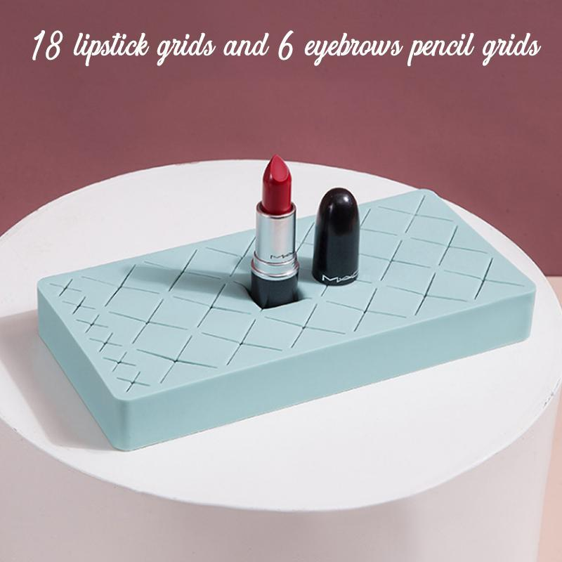 Silicone Makeup Storage Stand makeup trillionwish Blue M - 18 LIPSTICK GRID + 6 EYEBROW PENCIL GRID