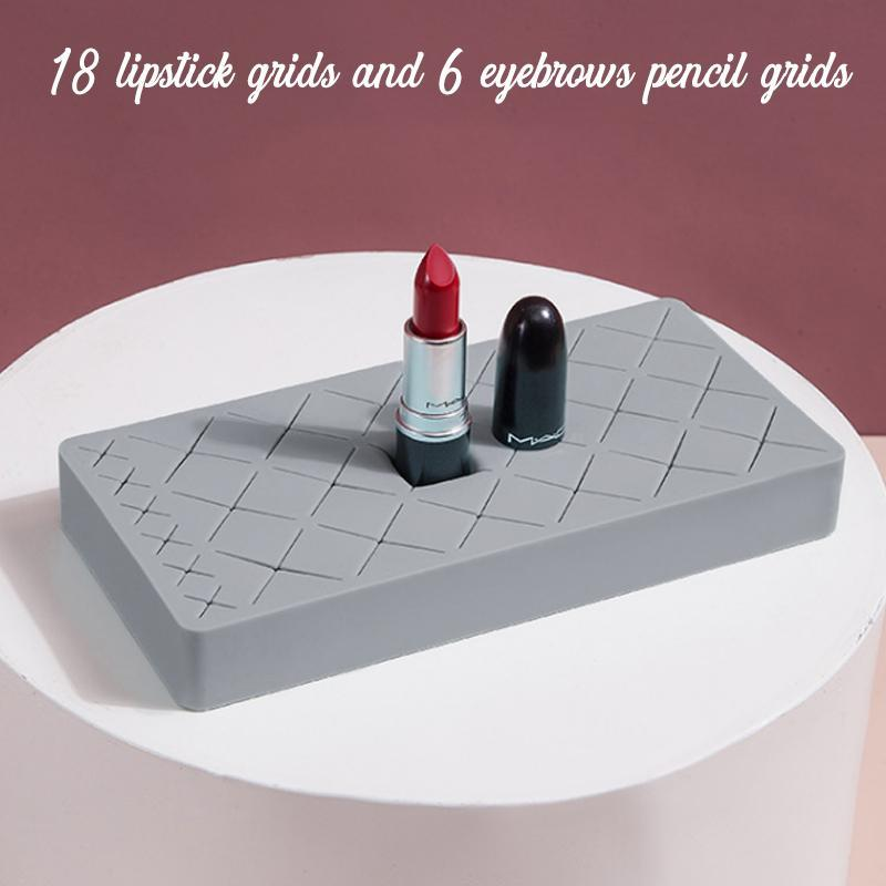 Silicone Makeup Storage Stand makeup trillionwish Gray M - 18 LIPSTICK GRID + 6 EYEBROW PENCIL GRID