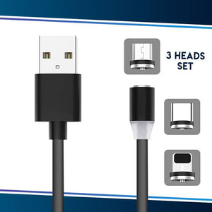 Voice Activated LED Magnetic Cable trillionwish Gray All 3 heads Set