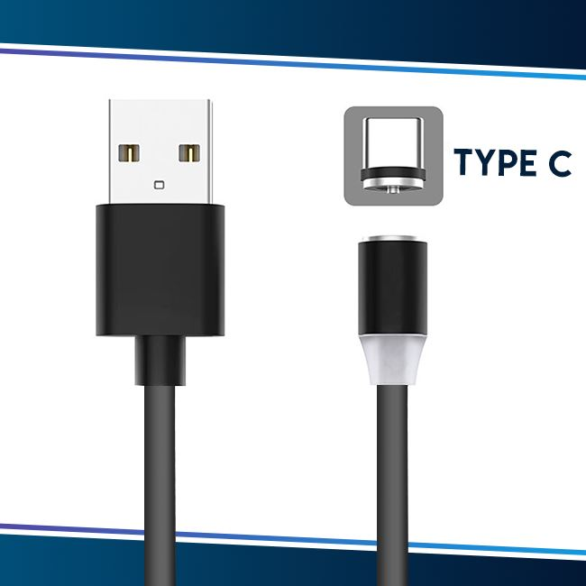 Voice Activated LED Magnetic Cable trillionwish Gray Type C