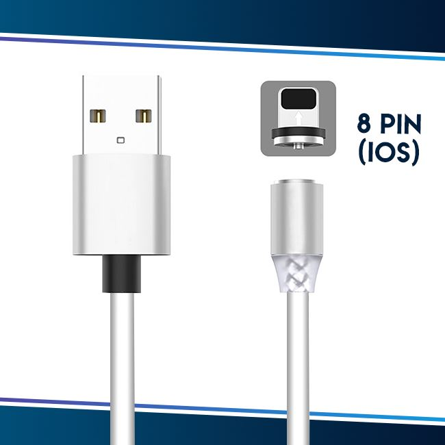 Voice Activated LED Magnetic Cable trillionwish White 8-pin IOS (Apple)