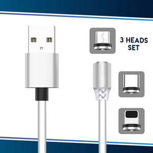 Voice Activated LED Magnetic Cable trillionwish White All 3 heads Set