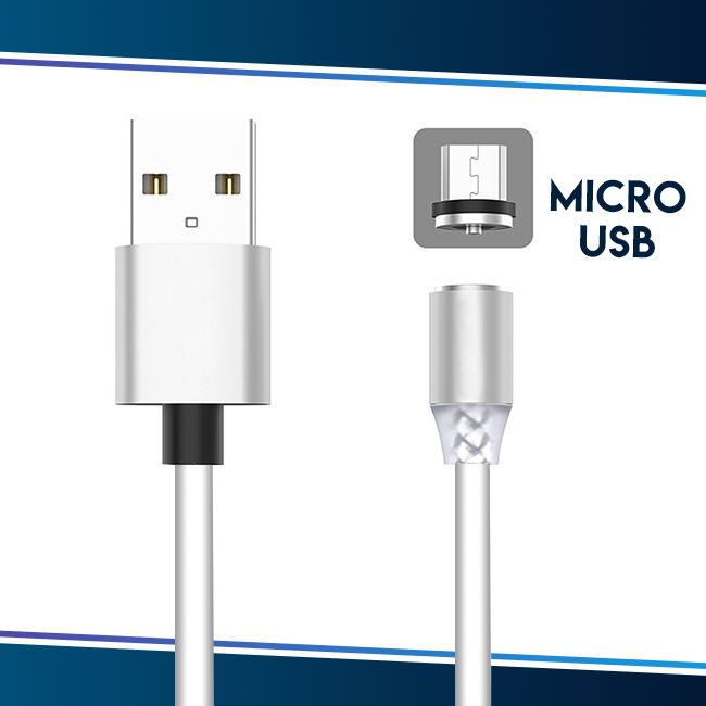 Voice Activated LED Magnetic Cable trillionwish White Micro USB (Android)