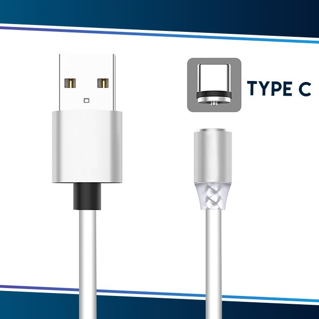 Voice Activated LED Magnetic Cable trillionwish White Type C