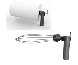 PolarityGear Clamp-On One handed paper towel holder. Heavy duty clamp fastens to just about anything. Have your paper towel holder within reach of your BBQ grill, atop your ladder or just about anywhere.