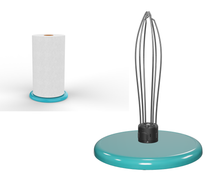 Load image into Gallery viewer, PolarityGear Countertop One-handed paper towel holder. Super heavy and beautiful enameled aqua colored cast iron base stays put while you tear sheets.