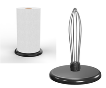 Load image into Gallery viewer, PolarityGear Countertop One-handed paper towel holder. Super heavy and beautiful enameled black cast iron base stays put while you tear sheets.