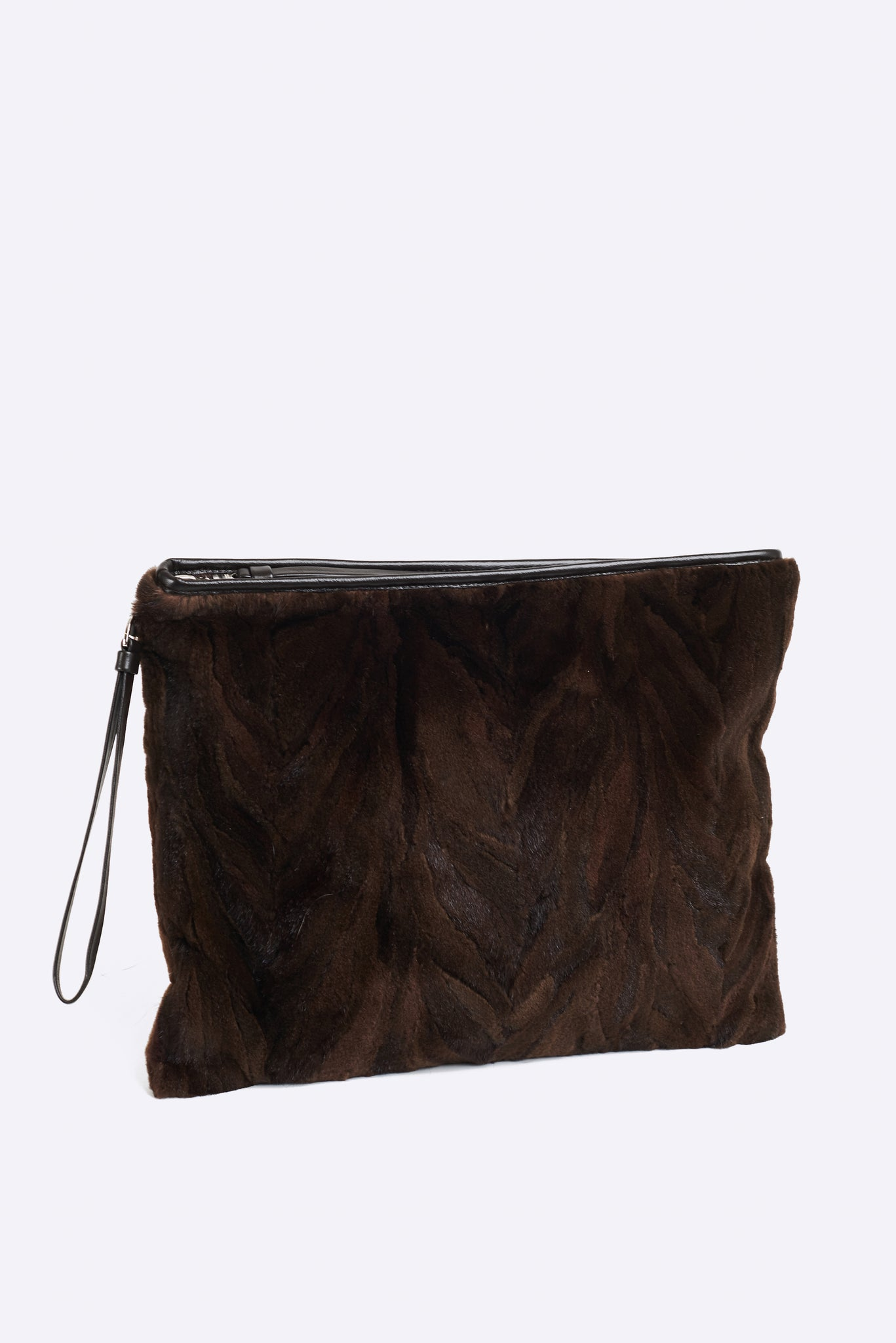 FURB Upcycled - Aberdeen - Upcycled Brown Mink Large Clutch