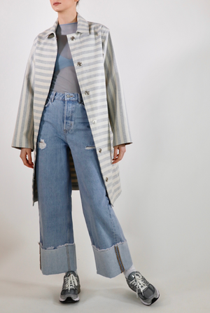 Victoria Upcycled Denim - Blue & off-white stripe