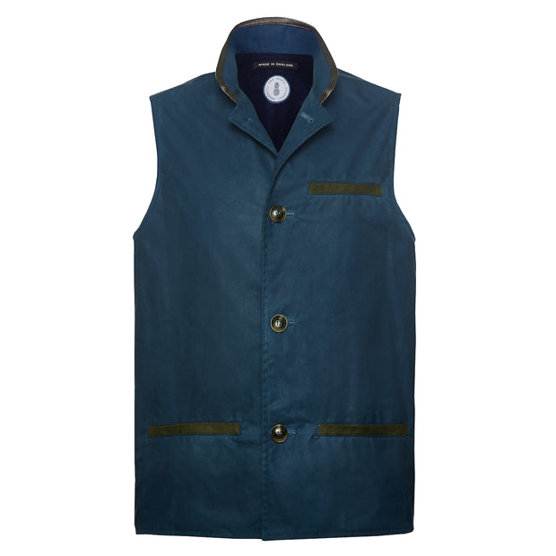 Deep blue waxed cotton Darzi gilet front view