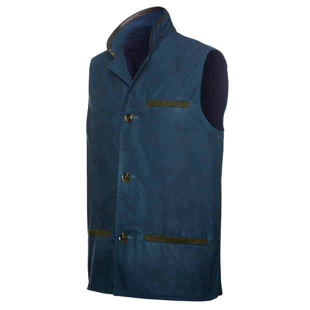 Deep blue waxed cotton Darzi gilet side view