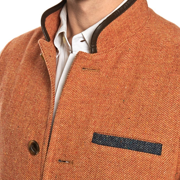 Men's  Darzi Tweed Gilet in Coral - Close Up