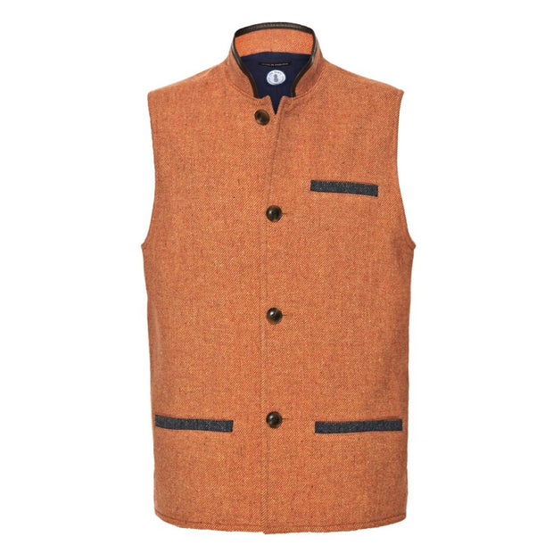 Men's  Darzi Tweed Gilet in Coral - Front View