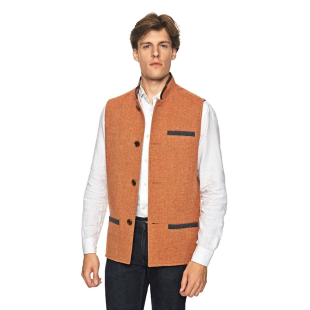 Man wearing Darzi Tweed Gilet in Coral