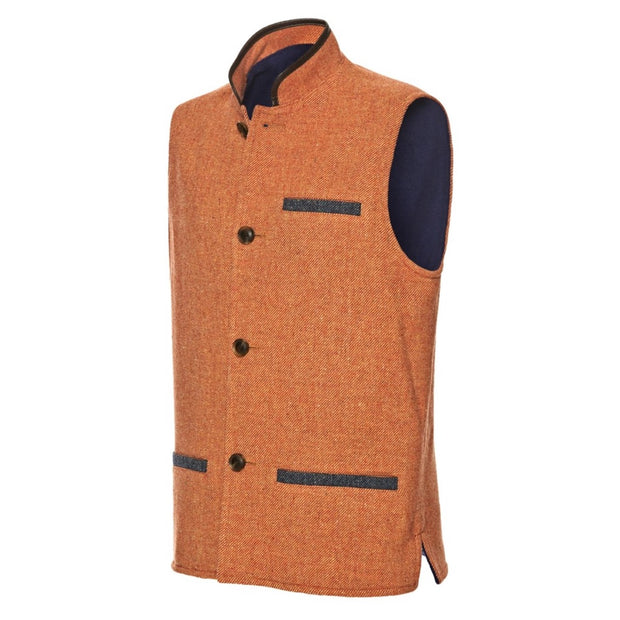 Men's  Darzi Tweed Gilet in Coral - Side View