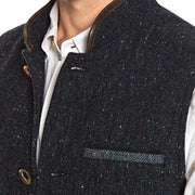 Dark Blue tweed wool Nehru Darzi gilet close up