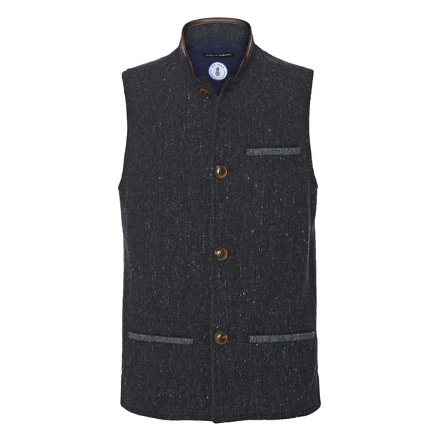 Dark Blue tweed wool Nehru Darzi gilet from front