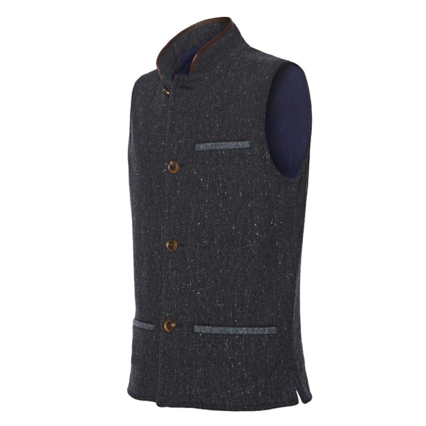 Dark Blue tweed wool Nehru Darzi gilet from side
