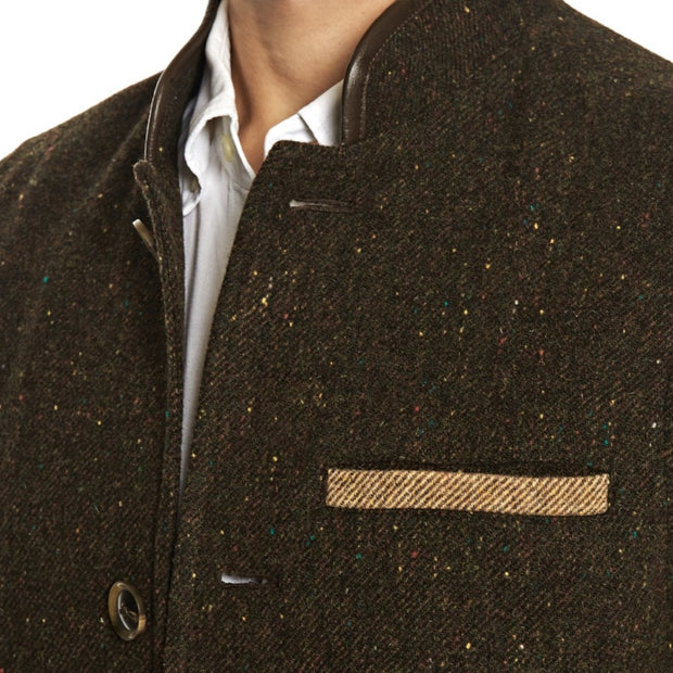 Men's Darzi Tweed Wool gilet in dark brown - close up view